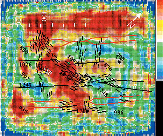 AVAZ analysis on the Mississippian horizon shows zones of higher crack density indicated by hot colours and lower crack density indicated by cold colours