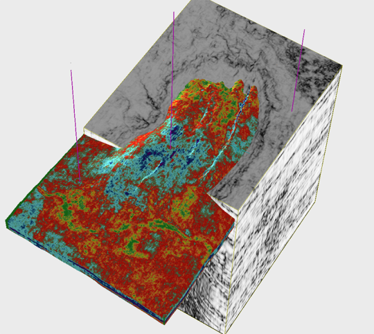 Channel Feature filled with low acoustic impedance (high porosity) lithology