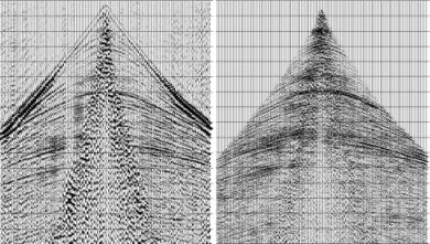 Shot Gather Before and After noise attenuation