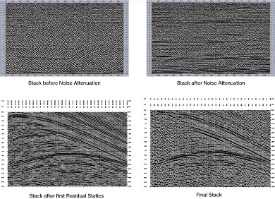 Stack Section before and after noise attenuation - above, Stack Section before and after first residual static correction - below.