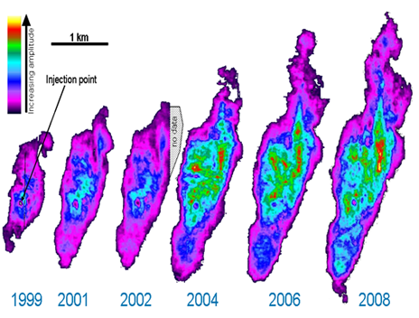 CO2 plume development over ten years on time lapse seismic modeling